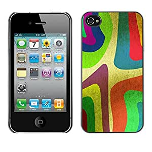 Be Good Phone Accessory // Hard Shell Protective Cover Case for Apple Iphone 4 / 4S // Wallpaper Colorfol Neon Painting Art Stripe