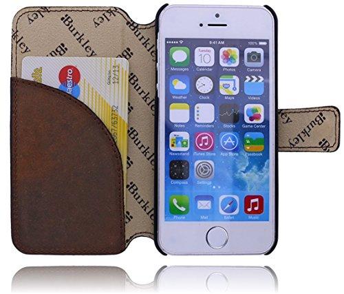 Burkley Premium Antik Leder Handy-Tasche für Apple iPhone SE / 5 / 5S Schutz-Hülle Book Cover mit Kartenfach im Vintage / Retro Look in kaffee braun