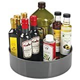 mDesign Lazy Susan Turntable Food Storage Container for Cabinets, Pantry, Refrigerator, Countertops, BPA Free - Spinning Organizer for Spices, Condiments, Baking Supplies - 11.5'' Round, Charcoal Gray