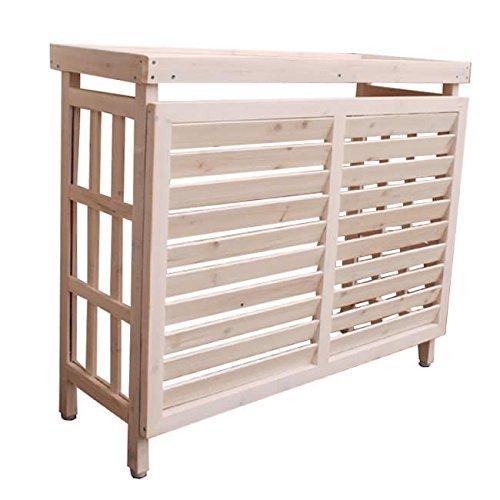 熱風を上に逃がす 逆ルーバー 室外機カバー 木製 (ホワイト) / 日よけ 白 おしゃれ フラワーラック 棚 B07D47BNY1 12495 ホワイト ホワイト