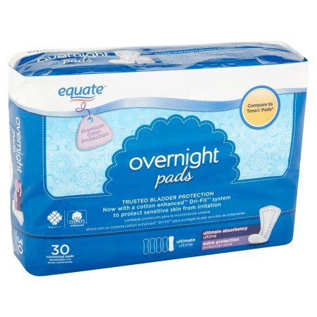 Amazon.com: Equate Overnight Ultimate Extra Protection Incontinence Pads, 30 count (1 Pack): Health & Personal Care