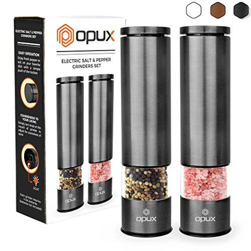 - OPUX Battery Operated Salt and Pepper Grinder Set | Electric Pepper Mill, Automatic Salt Grinder with LED Light, Bottom Cover | Brushed Stainless Steel Shakers, Sleek Modern Design (Gun Metal)