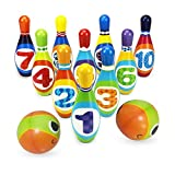 Bowling Play Set, LEEGOAL Bowling Ball Games Funny Bowling Set Kit Toys Educational Toy Party Favors with 10 Pins and 2 Balls, Great Gift for Ages 2, 3, 4, 5 Year-Old Baby Kids Toddlers Boys Girls