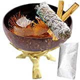 Worldly Finds Smudge Bowl Smudging Kit, Natural Coconut Shell Scrying Bowl, White Sage Stick Bundle, 2 Palo Santo, White Sand, Eco-Friendly, Hand-Painted, Gift Set (Orange, Starter Set) Picture