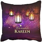 Throw Pillow Cover Square 18x18 Inches Ramzan Intricate Arabic Lamps with Lights Mubarak Ramazan Arabian Arab Beauty Bokeh Celebration Polyester Decor Hidden Zipper Print On Pillowcases