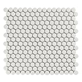 Vogue Tile Unglazed White Penny Round Porcelain Mosaic (Box of 10 Pcs), Floor and Wall Tile, Bathroom Tile on 12x12 Mesh for Easy Installation