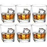 Double Old Fashioned Whiskey Glass - 10 oz Crystal Glasses Square White Spirits Mug Scotch Cups Wine Cup Home Bar Drinkware (Set of 6)