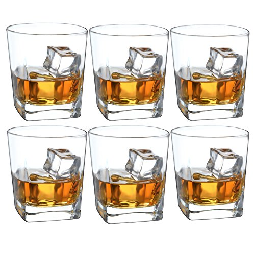 - Double Old Fashioned Whiskey Glass - 10 oz Crystal Glasses Square White Spirits Mug Scotch Cups Wine Cup Home Bar Drinkware (Set of 6)