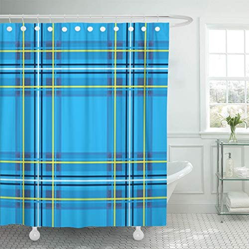 YeaRuRu Shower Curtains 72 x 72 Inches Scottish Cage Blue Celtic Textures Plaid Pattern Waterproof Polyester Fabric Bathroom Curtain Bath Sets with Free (Celtic Clothing Kilt Accessories)