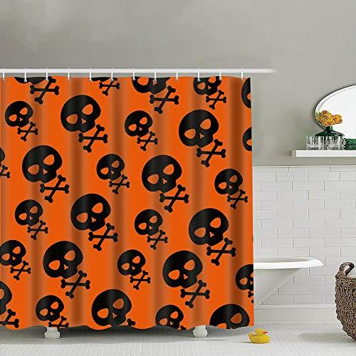 (best bags Happy Halloween Skull Bones Anatomy Holidays Waterproof Shower Curtain Liners Bathroom Decoration with Rust Proof Hooks 66X72)