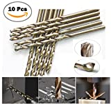 Max-Power 10pcs Pack 1/16'' Inch High Speed Steel Cobalt M35 Fully Ground Heavy Duty General Purpose Jobber Length Twist Drill Bit 135 Deg. Split Point Drilling For Metal, Steel