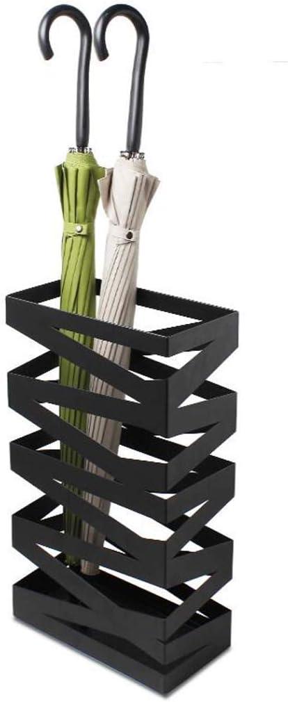 Or Fer Forg/é M/étal Creative Arbre en Forme De Parapluie Seau Blanc 32x55cm Porte-parapluies WXYZ Lumi/ère De Base Marbre Stable Color : Black 1 Noir