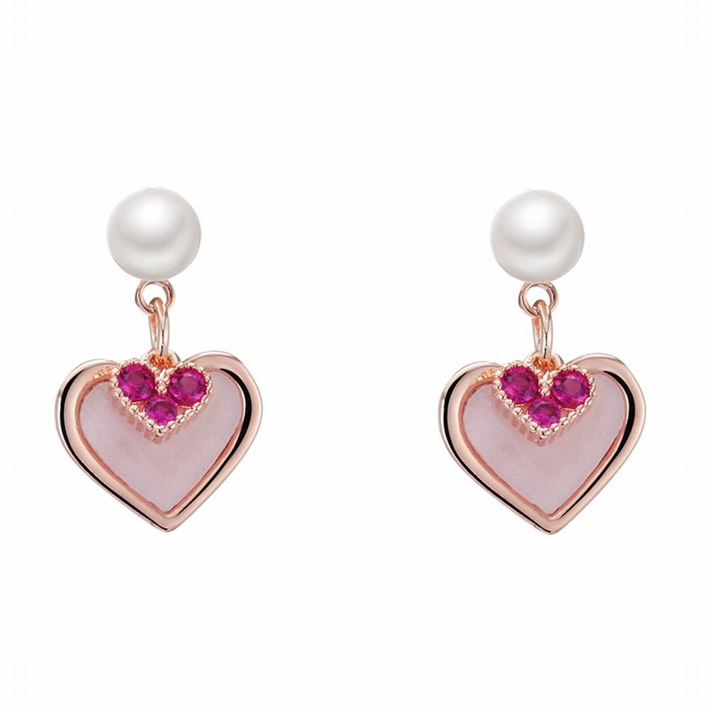 Ling Studs Earrings Hypoallergenic Cartilage Ear Piercing Heart-shaped earrings simple and versatile short necklace zircon earrings by Ling (Image #1)