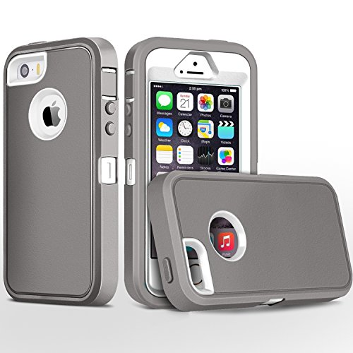 FOGEEK iPhone 5S Case,iPhone SE Case, Heavy Duty PC and TPU Combo Protective Body Armor Case Compatible for iPhone 5S,iPhone SE and iPhone 5 with Fingerprint Function (Light Grey/White)