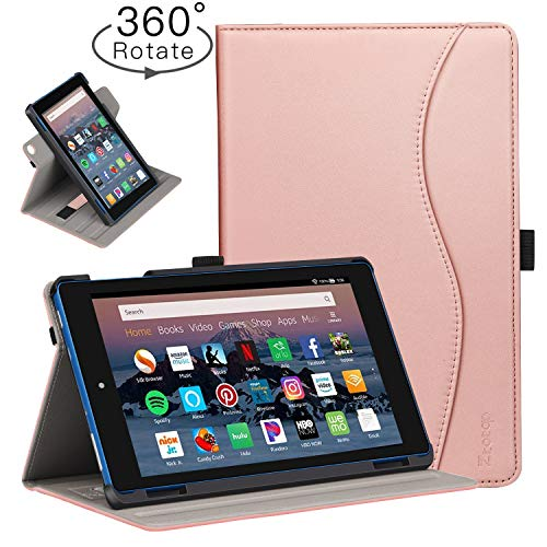 Ztotop Folio Case for Amazon flre HD 8 Tablet (8th/7th Generation,2018 and 2017 Release) - Smart 360 Degree Rotating Leather Cover Multi-Angle Viewing Stand Case with Auto Wake/Sleep, Rose Gold