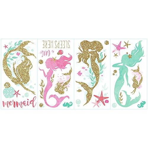 RoomMates Mermaid Peel And Stick Wall Decals With Gltter by RoomMates (Image #2)