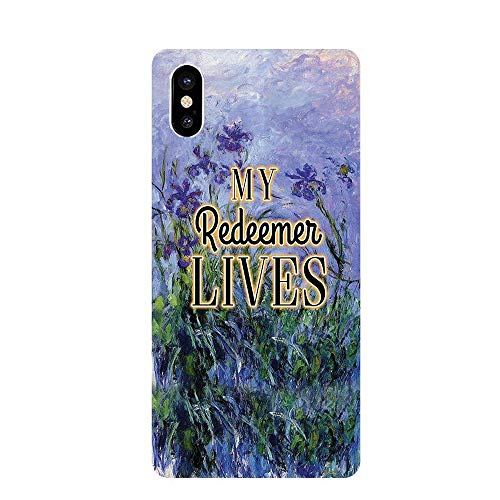 Christian iphone X Case - My Redeemer Lives - Inspirational Scripture Cover - Gifts for Men Women Teens Kids -