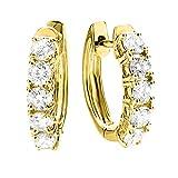 1.00 Carat (ctw) 14K Yellow Gold Round White Diamond Ladies Huggies Hoop Earrings 1 CT - Premium Collection