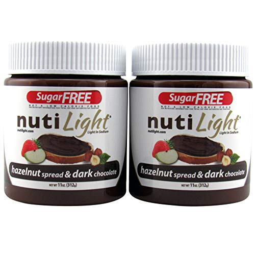 Hazelnut Nutella Chocolate Spread - Nutilight Sugar Free Hazelnut Spread and Dark Chocolate 11 Ounces (2 Pack)