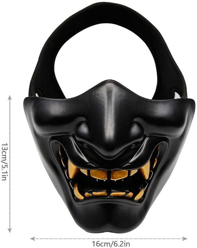 Andifany Costume di Halloween Cosplay Denti Cariati Demone Malvagio Kabuki Samurai Mezza Copertura Maschera Decorazione Spaventosa per Feste Nero