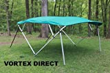 SQUARE TUBE FRAME VORTEX TEAL 4 BOW PONTOON/DECK BOAT BIMINI TOP 8' LONG, 91-96
