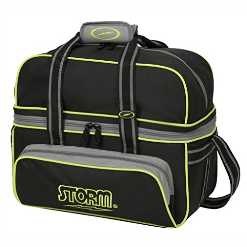 Storm 2 Ball Deluxe Tote, Black/Gray/Lime (Storm Bowling 2 Ball Bag)