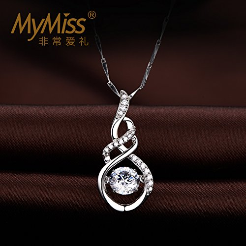 Official_ Silver _Mymiss_lingering_ love clavicle chain necklace Pendant women girl simple Silver necklace Pendant _set_with_120_facets by Generic