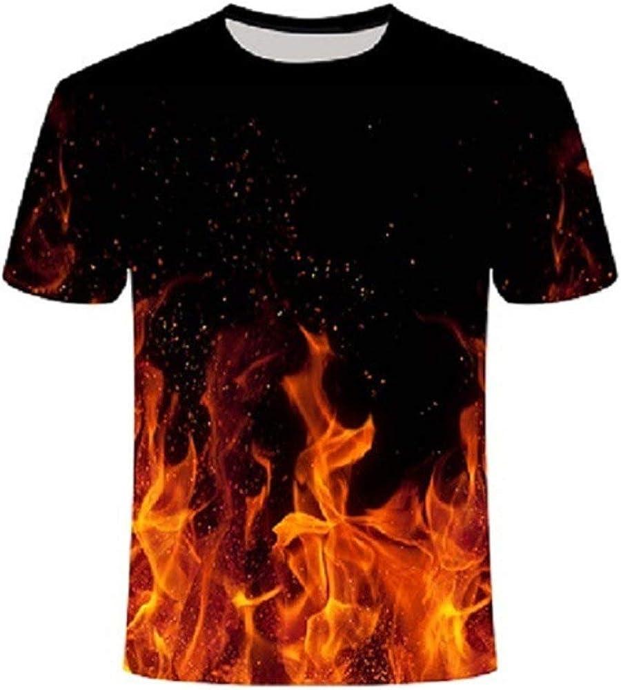 Fantasy Rot Gelb Flamme Sunofbeach Unisex 3D T-Shirt Lustige Druck Beil/äufige Kurzarm T-Shirts Tee Tops