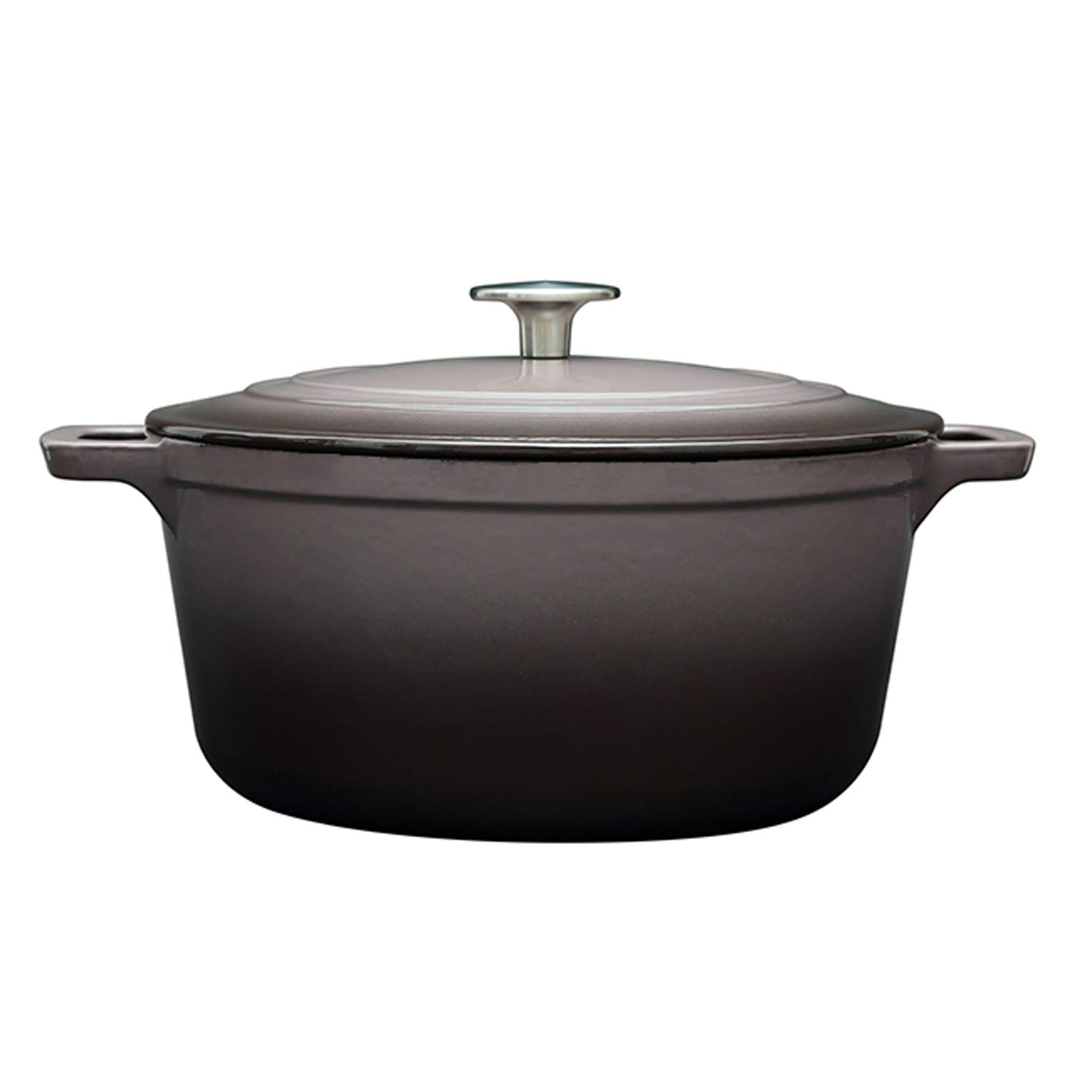 Enameled Cast Iron Dutch Oven, DEALLINK Classic Enamel Dutch Oven Ceramic Coated Cookware French Oven with Self Basting Lid (Purple-Gray, 4.7QT)