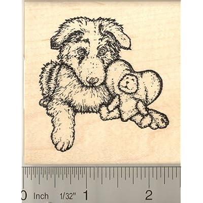Australian Shepherd Puppy Rubber Stamp: Arts, Crafts & Sewing