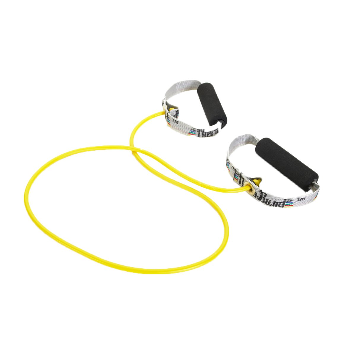 TheraBand Professional Latex Resistance Tubing with Soft Handles for Physical Therapy, Pilates, Yoga, At-Home Workouts, and Rehabilitation, 48 in, Yellow, Thin, Beginner Level 2