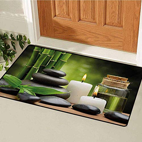 (GUUVOR Spa Commercial Grade Entrance mat Hot Massage Rocks Combined with Candles and Scents Landscape of Bamboo Print for entrances garages patios W23.6 x L35.4 Inch Green White and Black)