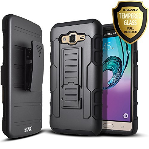 Samsung Galaxy Express Prime / Galaxy Amp Prime Case, Starshop [Heavy Duty] Dual Layers Kickstand Case With [0.33m 9H Tempered Glass Screen Protector Included] and Locking Belt Clip (Black)