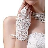 Newdeve White Short Lace Fingerless Rhinestone Bridal Gloves (Ivory)