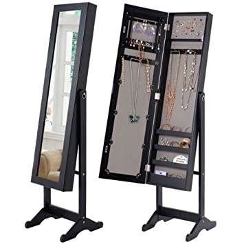 Amazoncom Giantex Mirrored Jewelry Cabinet Armoire Mirror