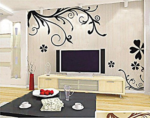 Removable Paper Mural Black Flower Wall Stickers Art Decal Decor Room Vinyl