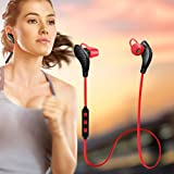 Blue tooth Headphones,EarTime Lightweight Wireless V4.1 Sport Stereo In-Ear Noise Cancelling Earphone for iPhone 7 Samsung Galaxy S7 LG and Android Phones (Red)