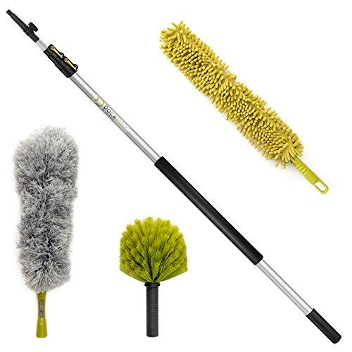 DocaPole 20 Foot High Reach Dusting Kit with 5-12 Foot Extension Pole // Cleaning Kit Includes 3 Dusting Attachments // Cobweb Duster // Microfiber Duster // Ceiling Fan Duster from DOCAZOO