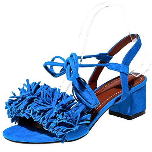 ENMAYER Womens Fashion Special Design Mid Heels Self Ties Sandals With Tassels Light Blue AvNMwrLE3N