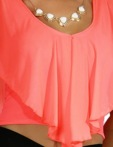 Women's Sexy Ruffle Cropped Hankerchief Over-lay V-Neckline Necklace Blouse Top (LARGE, ORANGE-DC12975ST)