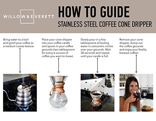 Pour Over Coffee Filter - Reusable Drip Coffee Filters for Chemex (Brown) by Willow & Everett (Image #7)