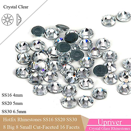 (UPRIVER GALLERY SS16 4mm HotFix Rhinestone 16 Facets Crystal Clear Rhinestones for Garments SS16 - SS30 Flatback)