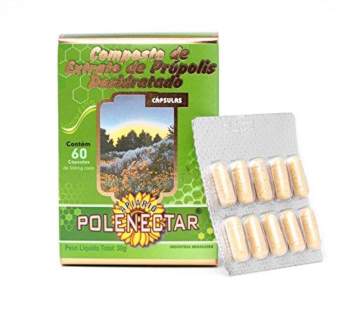 1 box Brazilian Green Bee Propolis Extract Polenectar 60 Capsules of 500mg Each Box