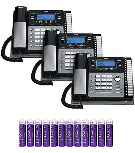 RCA 25424RE1 4-Line Expandable Phone System - Office Desk Telephone with Built-in Caller ID and Intercom (3-Pack) Bundle with 12 Blucoil AAA Batteries (Telephones 3 Lines)
