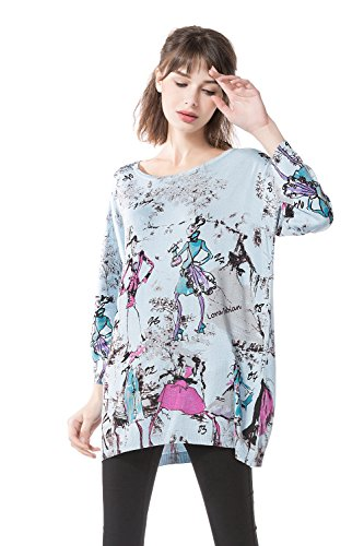 Knitbest Women's 3/4 Sleeve Print Knit Top (Grey and (Jersey Print Turtleneck)