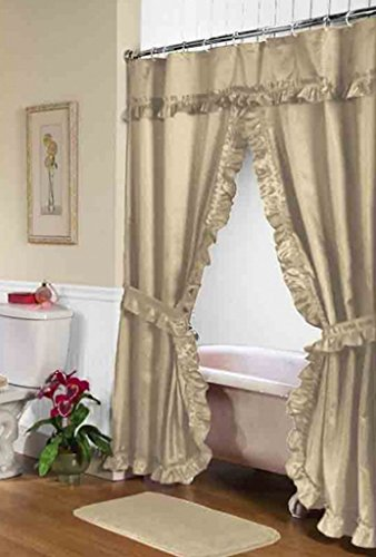 Carnation Home Fashions Lauren Double Swag Fabric Shower Curtain, 70 Inch  By 72 Inch, Linen