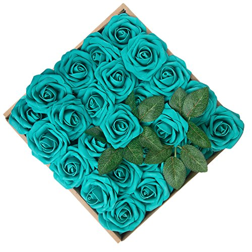 Umiss Wedding Bouquet 50pcs Artificial Flowers White Real Touch Artificial Roses for Bouquets Centerpieces Wedding Party Baby Shower DIY Decorations (Teel Green) (Teal Green Roses)