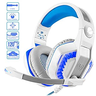Pro Gaming Headset for PC PS4 Xbox One with Mic. Over-Ear Headphones for Laptop Games with Noise Cancelling Stereo 53mm Driver Memory Earmuffs Volume Control Gift for Kids