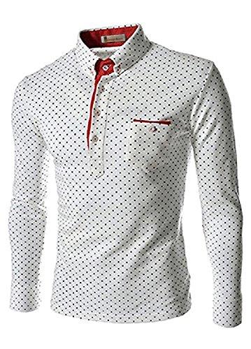 Orange Ananas メンズ 長袖 コットン ポロシャツ ドット柄 ゴルフウェア 大きいサイズ 【 大きい サイズ 仕様 】