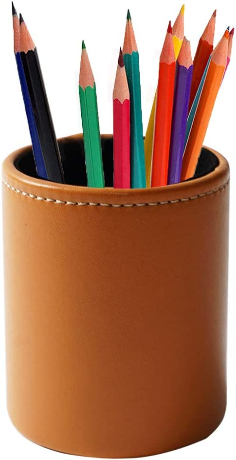 LIZIMANDU Leather Office Pencils Holder,Round Pen Cup Remote Desk Accessories Organizer Desktop Stationery Container Box for Home Office Bedroom(1 Pack,1-Brown)